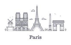 French architecture, paris panorama city skyline vector outline illustration. Paris linear architecture, famous paris place stock illustration