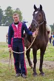 French army soldier at Borodino battle historical reenactment in Russia stock photo