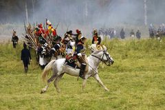French army soldier cuirassier at Borodino battle historical reenactment in Russia Royalty Free Stock Photos