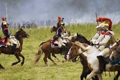 French army soldiers at Borodino battle historical reenactment in Russia Stock Photo