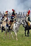 French army soldiers cuirassiers at Borodino battle historical reenactment in Russia Stock Image