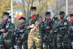 French army troops. Are seen during the Romanian National day parade in Bucgarest, the capital of Romania, on December the 1st stock images