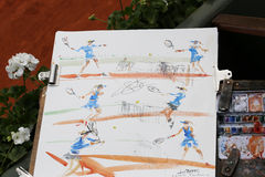 French artist drawing tennis players at Le Stade Roland Garros during Roland Garros 2015 Royalty Free Stock Photos