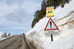 French avalanche danger sign Stock Photos