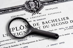 French baccalaureate certificate Stock Image