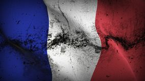 France grunge dirty flag waving on wind. royalty free illustration