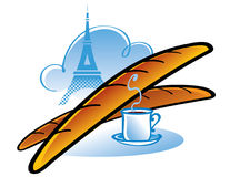 French Baguette. Fresh French Baguette and cup of coffee - breakfast in Paris stock illustration