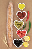 French Baguette with Antipasti Stock Image