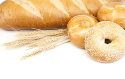 French baguette and bagels Stock Image