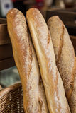 French baguette bread in baskets Stock Photos