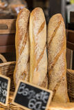 French baguette bread in baskets. For sale Royalty Free Stock Photo
