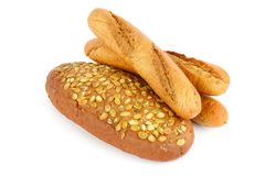 French baguette bread with pumpkin seeds. Isolated on white back Stock Images