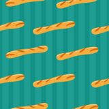 French baguette bread. Seamless pattern. Seamless pattern on green background. French baguette bread. In a cartoon style. Vector illustration royalty free illustration