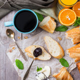 French baguette with butter and jam for breakfast Royalty Free Stock Photography