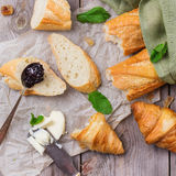 French baguette with butter and jam for breakfast Royalty Free Stock Image