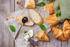 French baguette with butter and jam for breakfast Stock Photography