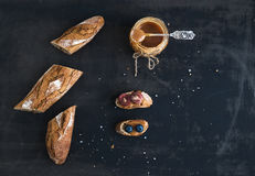 French baguette cut into pieces, sandwiches with Royalty Free Stock Photos