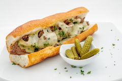 French baguette with meatballs Royalty Free Stock Photos