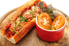 French baguette with meatballs Royalty Free Stock Images