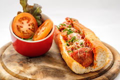 French baguette with meatballs Stock Images