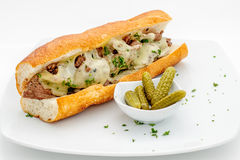 French baguette with meatballs Stock Photo