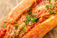 French baguette with meatballs Royalty Free Stock Photography