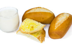 French baguette and milk Stock Image