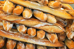 French baguettes. Fresh delicious french baguettes background Royalty Free Stock Images