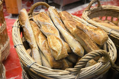 French baguettes on basket Stock Image
