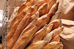 French Baguettes In Metal Basket In Bakery Royalty Free Stock Photo