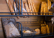 French baguettes in shelves of bakery Royalty Free Stock Images