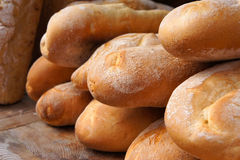 French baguettes. Wheaten loafs. Stock Photos