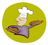 French Baker. Holding trays of bread, rolls and pastries Royalty Free Stock Photos