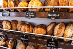 Bread loaes being displayed royalty free stock image