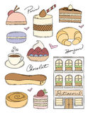 French Bakery Doodles. French Pastry Shop and Pastries. Easy to edit Royalty Free Stock Photography
