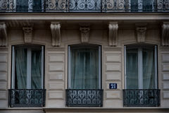 French balconies on building in Paris royalty free stock photography