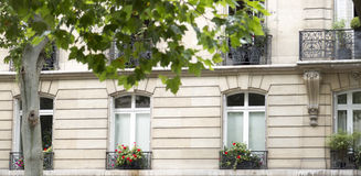 French Balconies With Flowers in Paris Royalty Free Stock Images
