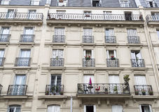 French Balconies in Paris. With flowers Royalty Free Stock Image