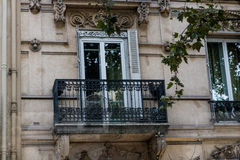 French balcony on building in Paris stock photos