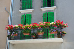 French balcony with flowers Stock Photo