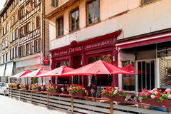French Bar Chez marco in Central Strasbourg. STRASBOURG, FRANCE - JUL 4, 2016: Chez Marco`s Bar Cintra in central Strasbourg waiting for customers on a bright royalty free stock photography