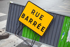 French barrier with closed street roadsign Royalty Free Stock Photography