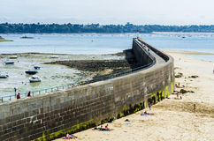 French beach. The famous french beach of Saint-Malo Royalty Free Stock Image
