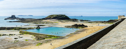 French beach. The famous french beach of Saint-Malo Royalty Free Stock Photos