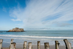 French beach. The french famous beach of Saint-Malo Royalty Free Stock Photos