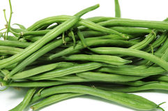 French beans. Green french beans on a white background Royalty Free Stock Image