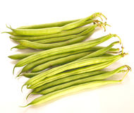 French beans. Dwarf french beans over a white background Stock Photos