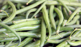 French beans. Green french beans in disorder Stock Photos