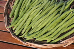 French beans on basket Stock Images