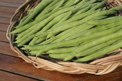 French beans on basket Royalty Free Stock Photography